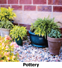 Pottery containers for colorful annual planting
